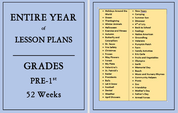 AN ENTIRE YEAR OF PRESCHOOL LESSON PLANS and ACTIVITIES