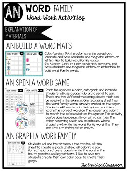 AN Word Family Word Work Activities
