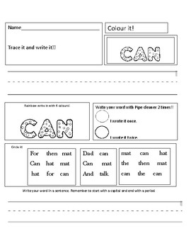 AN- family sight word practice