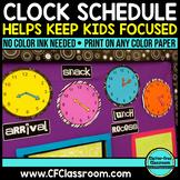 ANALOG CLOCK SCHEDULE DISPLAY PACKET-BLACKLINE DESIGN (clocks, labels and more)