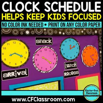 ANALOG CLOCK SCHEDULE DISPLAY PACKET-BLACKLINE DESIGN (clocks, labels and more)