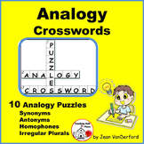 ANALOGIES CROSSWORD PUZZLES .. NO PREP Early Finishers ..Vocabulary Gr 3-5 LISTS