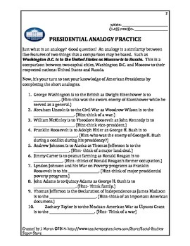 No prep - High school - Analogy Presidential worksheet
