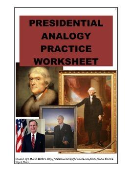 No prep - High school - Analogy Presidential worksheet