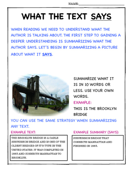 ANALYZE INFORMATIONAL TEXT (SAYS, MEANS, MATTERS) EXPLORE NEW YORK CITY!