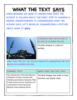 ANALYZE INFORMATIONAL TEXT (SAYS, MEANS, MATTERS) EXPLORE TURKEY!