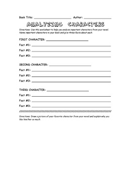 ANALYZING CHARACTERS WORKSHEET
