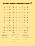 ANATOMY OF A BOOK: PARTS OF A BOOK WORD SEARCH