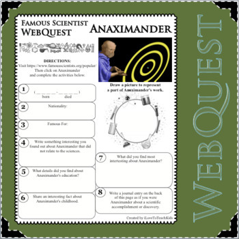 ANAXIMANDER - WebQuest in Science - Famous Scientist - Differentiated