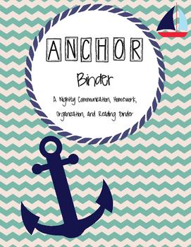ANCHOR communication and homework binder (multiple options)