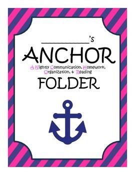 ANCHOR folder or binder nautical pink and navy
