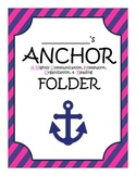 ANCHOR folder or binder nautical pink and navy