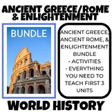 ANCIENT GREECE, ROME, ENLIGHTENMENT & READING AND WRITING ACTIVITY BUNDLE
