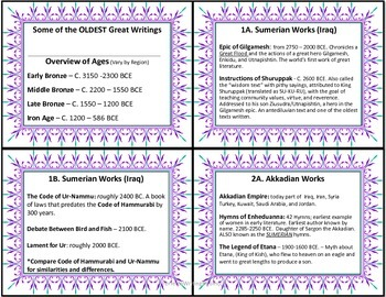 ANCIENT Literary World TEXTS FREEBIE IDEAS and Planning CARDS