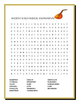 ANCIENT & OLD MUSICAL INSTRUMENTS: WORD SEARCH