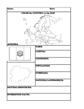ANDORRA COUNTRY RESEARCH WORKSHEET