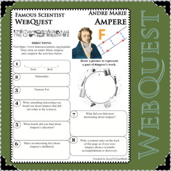 ANDRE MARIE AMPERE - WebQuest in Science - Famous Scientist - Differentiated