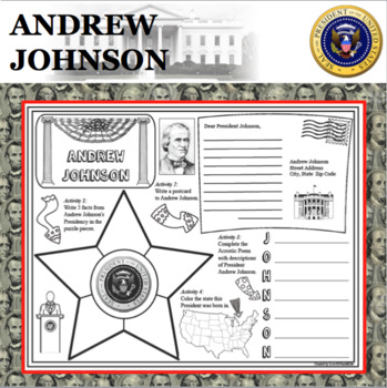 ANDREW JOHNSON POSTER U.S. President Research Project Biography