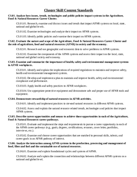 ANFR Content Standards Quick Reference
