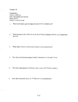 ANGELA'S ASHES CHAPTER 13 COMPREHENSION / QUIZ QUESTIONS