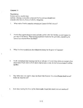 ANGELA'S ASHES CHAPTER 14 COMPREHENSION / QUIZ QUESTIONS