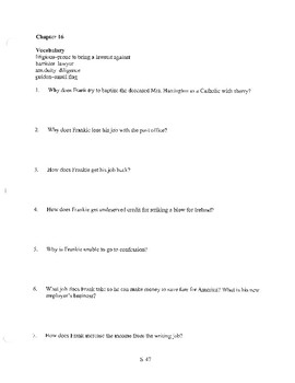 ANGELA'S ASHES CHAPTER 16 COMPREHENSION / QUIZ QUESTIONS