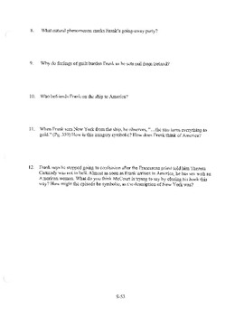ANGELA'S ASHES CHAPTER 18 COMPREHENSION / QUIZ QUESTIONS