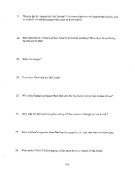 ANGELA'S ASHES CHAPTER 2 COMPREHENSION / QUIZ QUESTIONS