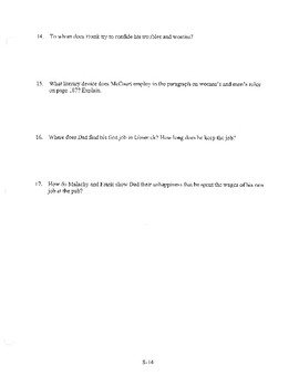 ANGELA'S ASHES CHAPTER 3 COMPREHENSION / QUIZ QUESTIONS