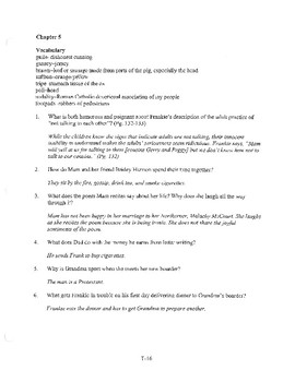 ANGELA'S ASHES CHAPTER 5 COMPREHENSION / QUIZ QUESTIONS