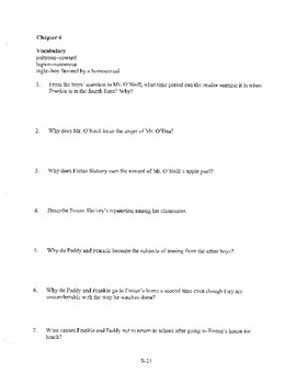 ANGELA'S ASHES CHAPTER 6 COMPREHENSION / QUIZ QUESTIONS