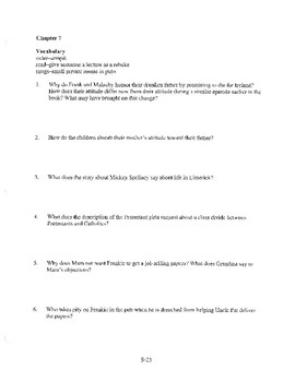 ANGELA'S ASHES CHAPTER 7 COMPREHENSION / QUIZ QUESTIONS