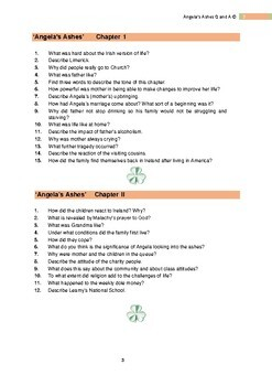 ANGELA'S ASHES Comprehension Questions & Worksheets