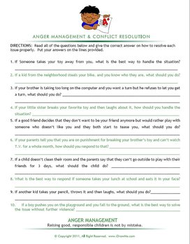 ANGER MANAGEMENT AND CONFLICT RESOLUTION FOR KIDS