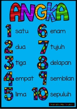 ANGKA numbers to 10 poster BAHASA INDONESIA indonesian