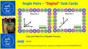 "ANGLE PAIRS:  ""DIGITAL"" BOOM CARDS (30 TASK CARDS)"