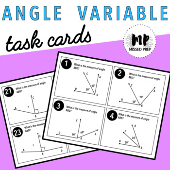 ANGLE  VARIABLES TASK CARDS