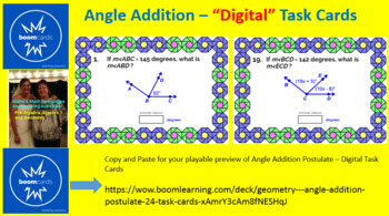 """ANGLES ADDITION AND PROTRACTOR POSTULATES: """"DIGITAL"""" BOOM CARDS (54 TASK CARDS)"""