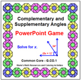 ANGLES:  COMPLEMENTARY AND SUPPLEMENTARY ANGLES - POWERPOINT GAME - WIPE OUT!