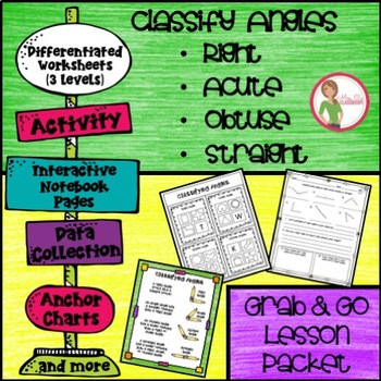 ANGLES - Classify / Identify - Right, Acute, Obtuse, Straight - Grab & Go Packet
