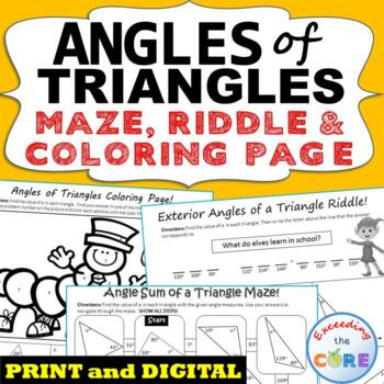 ANGLES OF TRIANGLES Maze, Riddle, & Coloring Page (Fun MATH Activities)