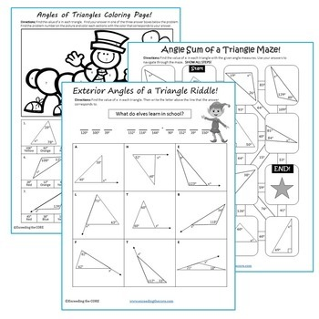 angles of triangles maze riddle coloring page fun math activities. Black Bedroom Furniture Sets. Home Design Ideas