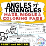 ANGLES OF TRIANGLES Maze, Riddle, & Color by Number (Fun M
