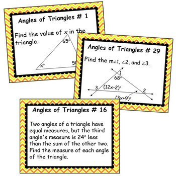 ANGLES OF TRIANGLES BUNDLE - Task Cards, Graphic Organizers, Puzzles