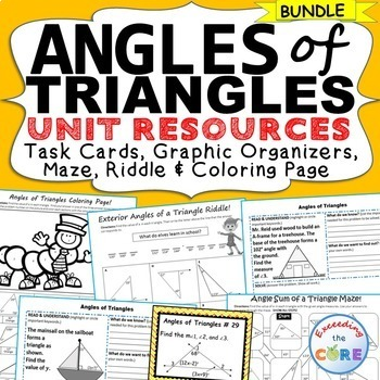 ANGLES OF TRIANGLES BUNDLE - Task Cards, Graphic Organizer