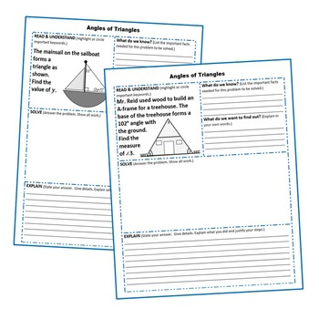 ANGLES OF TRIANGLES Word Problems with Graphic Organizers