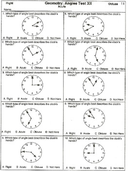 Angles: Practice Test II (printable worksheets)