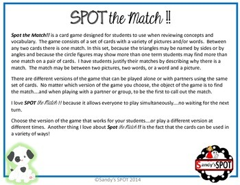 ANGLES, TRIANGLES, CIRCLES VIRGINIA SOL Grades 5-6 SPOT the Match Game
