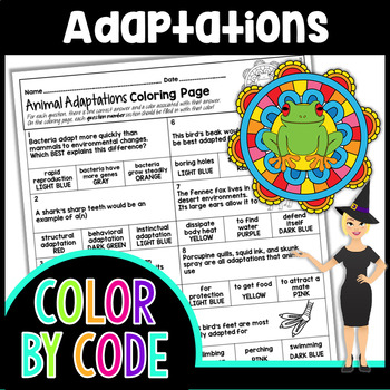 ANIMAL ADAPTATIONS SCIENCE COLOR BY NUMBER, QUIZ