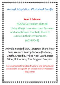 ANIMAL Adaptations Worksheet   BUNDLE